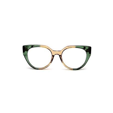 Armação para óculos de Grau Gustavo Eyewear G117 10. Cor: Verde e âmbar translúcido. Haste verde.
