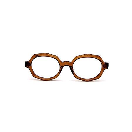 Armação para óculos de Grau Gustavo Eyewear G121 1. Cor: Âmbar translúcido. Haste animal print.