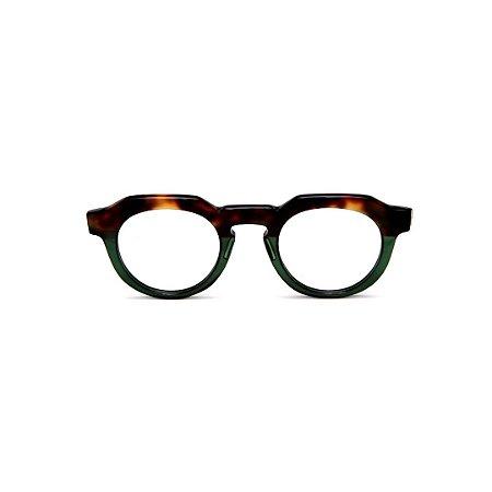 Armação para óculos de Grau Gustavo Eyewear G66 1. Cor: Animal print e verde translúcido. Haste animal print.