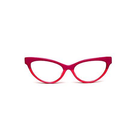Armação para óculos de Grau Gustavo Eyewear G129 1. Cor: Rosa pink e rosa bebê. Haste animal print.