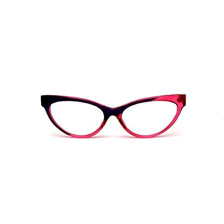Armação para óculos de Grau Gustavo Eyewear G129 5. Cor: Rosa e violeta translúcido. Haste violeta e rosa.