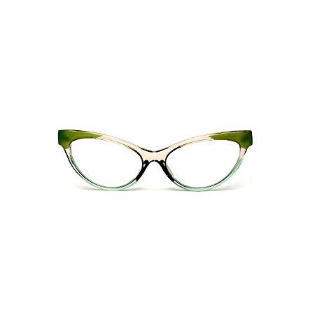 Armação para óculos de Grau Gustavo Eyewear G129 8.Cor: Âmbar, acqua e verde. Haste verde..