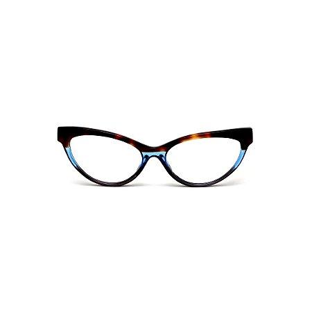 Armação para óculos de Grau Gustavo Eyewear G129 11. Cor: animal print e azul translúcido. Haste animal print.