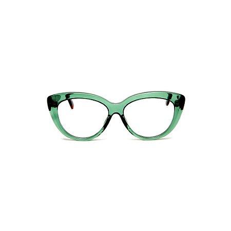 Armação para óculos de Grau Gustavo Eyewear G107 1. Cor: Verde translúcido. Haste animal print.
