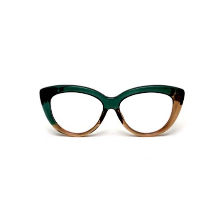Armação para óculos de Grau Gustavo Eyewear G107 4. Cor: Verde e âmbar translúcido. Haste verde.