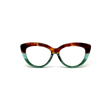 Armação para óculos de Grau Gustavo Eyewear G107 6. Cor: animal print, acqua e verde translúcido. Haste animal print.