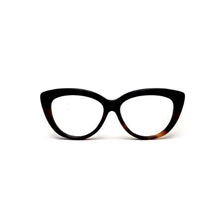 Armação para óculos de Grau Gustavo Eyewear G107 8. Cor: Preto e animal print. Haste preta.