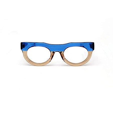 Armação para óculos de Grau Gustavo Eyewear G120 2. Cor: Azul e fumê translúcido. Haste azul.