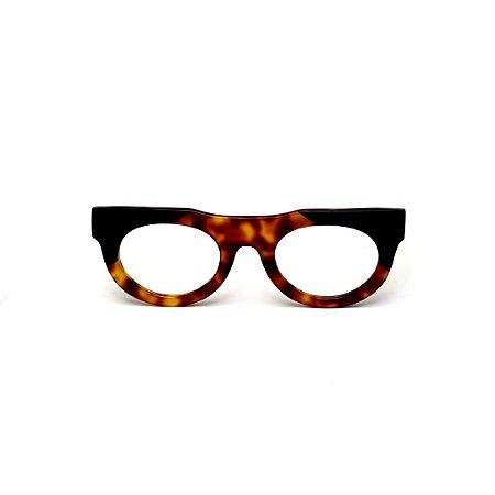 Armação para óculos de Grau Gustavo Eyewear G120 4. Cor: animal print e preto. Haste preta.