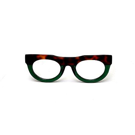 Armação para óculos de Grau Gustavo Eyewear G120 6. Cor: Animal print e verde translúcido. Haste animal print.