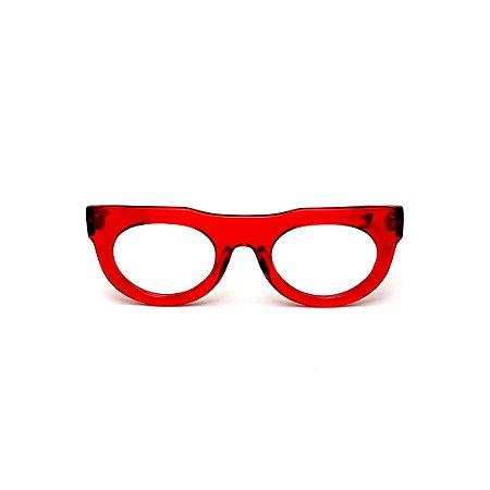 Armação para óculos de Grau Gustavo Eyewear G120 9. Cor: Vermelho translúcido. Haste animal print.