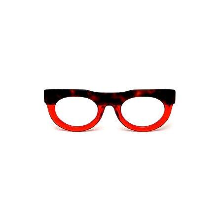 Armação para óculos de Grau Gustavo Eyewear G120 13. Cor: Animal print e vermelho translúcido. Haste animal print.