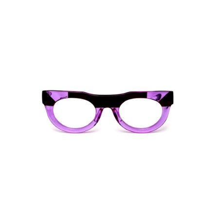 Armação para óculos de Grau Gustavo Eyewear G120 15. Cor: Lilás translúcido e preto. Haste animal print.
