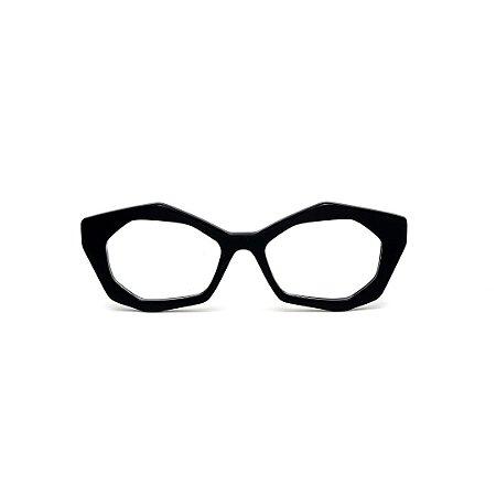 Armação para óculos de Grau Gustavo Eyewear G53 11. Cor: Preto. Haste preta.