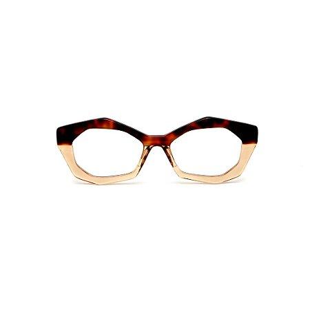 Armação para óculos de Grau Gustavo Eyewear G53 12. Cor: Animal print e âmbar. Haste animal print.