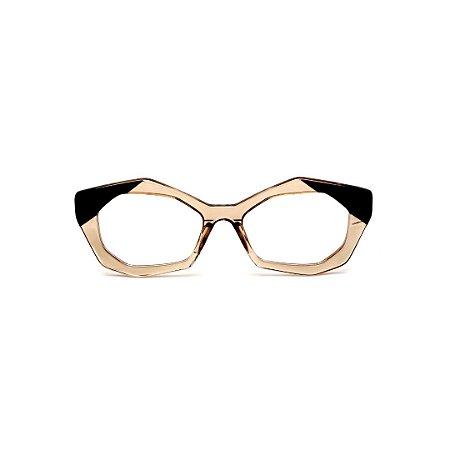 Armação para óculos de Grau Gustavo Eyewear G53 17. Cor: Âmbar e preto. Haste preta.