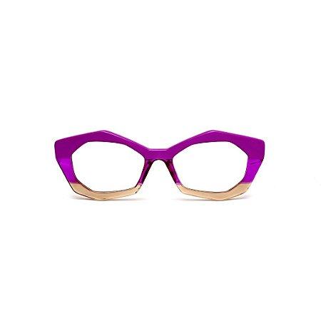 Armação para óculos de Grau Gustavo Eyewear G53 18. Cor: Violeta opaco, violeta translúcido e âmbar. Haste animal print.