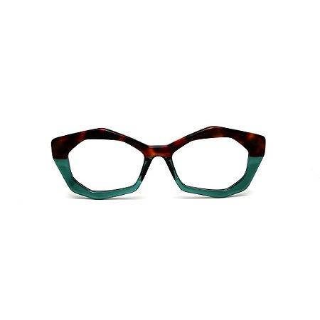 Armação para óculos de Grau Gustavo Eyewear G53 19. Cor: Animal print e verde translúcido. Haste animal print.