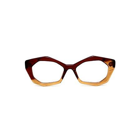 Armação para óculos de Grau Gustavo Eyewear G53 24. Cor: Marrom e âmbar translúcido. Haste marrom.
