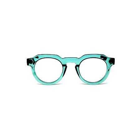 Armação para óculos de Grau Gustavo Eyewear G66 6. Cor: Acqua. Haste animal print.