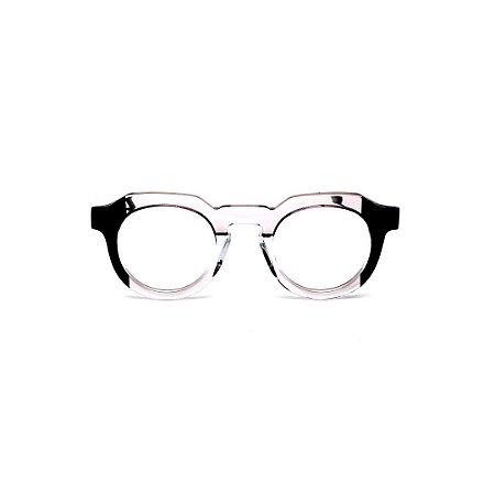 Armação para óculos de Grau Gustavo Eyewear G66 7. Cor: Cristal e preto. Haste preta.