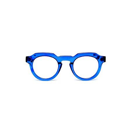 Armação para óculos de Grau Gustavo Eyewear G66 8. Cor: Azul translúcido. Haste preta.