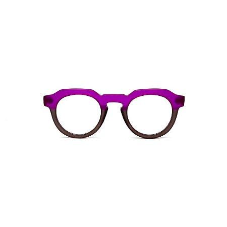 Armação para óculos de Grau Gustavo Eyewear G66 10. Cor: Violeta e fumê translúcido. Haste violeta.