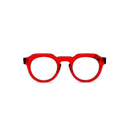 Armação para óculos de Grau Gustavo Eyewear G66 11. Cor: Vermelho translúcido. Haste fumê.