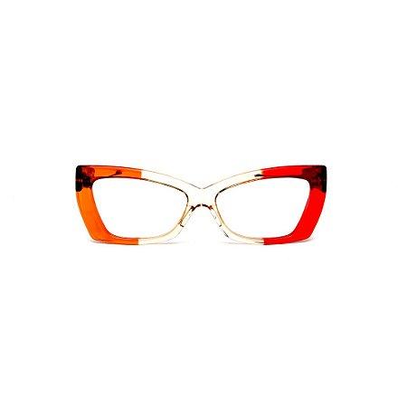 Armação para óculos de Grau Gustavo Eyewear G81 1. Cor: Laranja, âmbar e vermelho translúcido. Haste animal print.