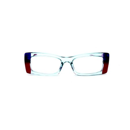 Armação para óculos de Grau Gustavo Eyewear G35 1. Cor: Acqua, vermelho e azul translúcido. Haste violeta.