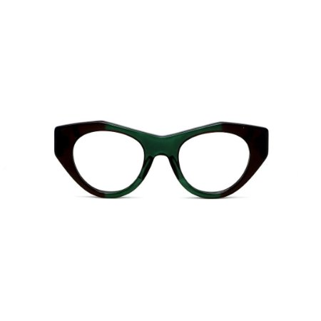 Armação para óculos de Grau Gustavo Eyewear G119 1. Cor: Verde e marrom translúcido. Haste animal print.