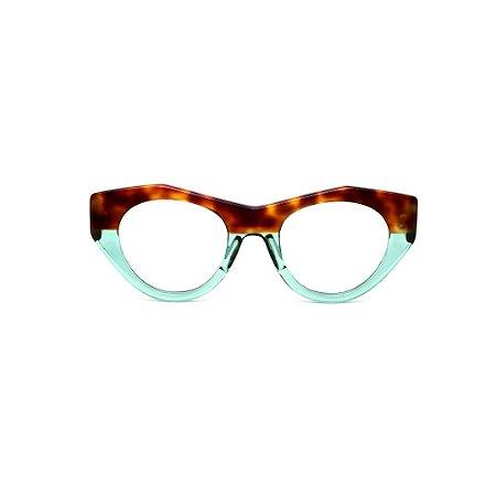 Armação para óculos de Grau Gustavo Eyewear G119 10. Cor: Animal print e azul translúcido. Haste animal print.