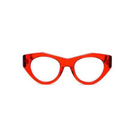 Armação para óculos de Grau Gustavo Eyewear G119 4. Cor: Vermelho translúcido. Haste animal print.