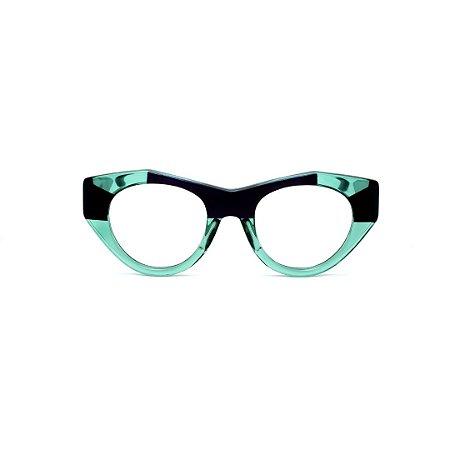 Armação para óculos de Grau Gustavo Eyewear G119 6. Cor: Acqua e preto. Haste preta.