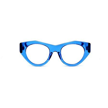 Armação para óculos de Grau Gustavo Eyewear G119 7. Cor: Azul translúcido. Haste preta.