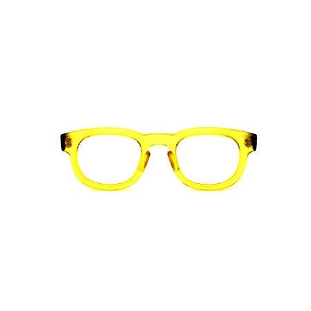 Armação para óculos de Grau Gustavo Eyewear G41 7. Cor: Amarelo translúcido. Haste preta.