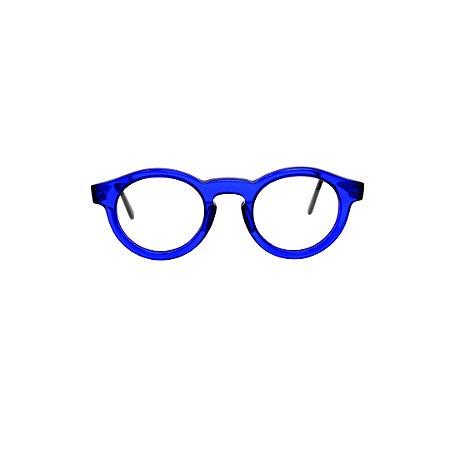 Armação para óculos de Grau Gustavo Eyewear G29 1. Cor: Azul translúcido. Modelo masculino. Haste preta.