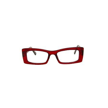 Armação para óculos de Grau Gustavo Eyewear G35 6. Cor: Vinho translúcido. Haste animal print.