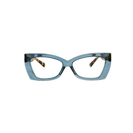Armação para óculos de Grau Gustavo Eyewear G81 10. Cor: Acqua translúcido. Haste animal print.