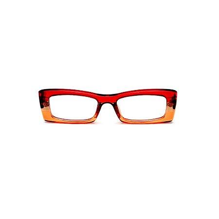 Armação para óculos de Grau Gustavo Eyewear G35 9. Cor: Vermelho, âmbar e laranja translúcido. Haste animal print.