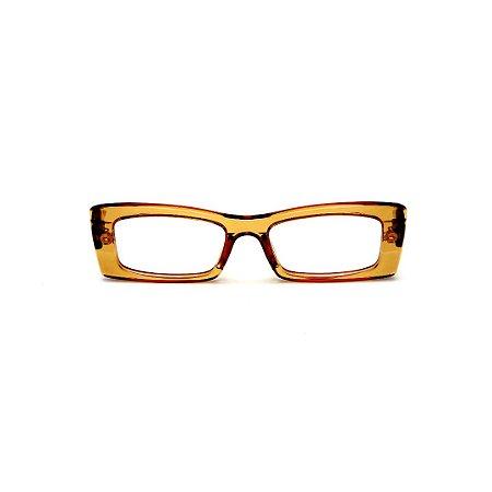 Armação para óculos de Grau Gustavo Eyewear G35 11. Cor: Caramelo translúcido. Haste animal print.
