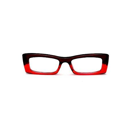 Armação para óculos de Grau Gustavo Eyewear G35 15. Cor: Marrom e vermelho translúcido. Haste vermelha.