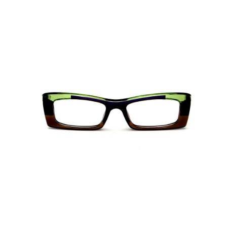 Armação para óculos de Grau Gustavo Eyewear G35 16. Cor: Marrom, verde, preto e azul. Haste verde.