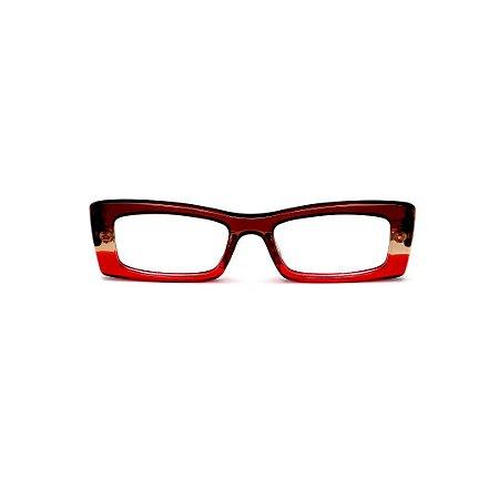 Armação para óculos de Grau Gustavo Eyewear G35 18. Cor: Marrom, âmbar e vermelho translúcido. Haste marrom.