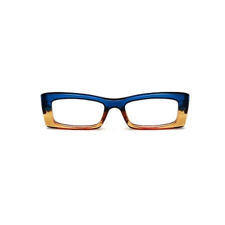 Armação para óculos de Grau Gustavo Eyewear G35 20. Cor: Azul e âmbar translúcido. Haste azul.