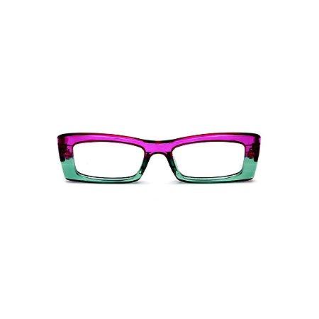 Armação para óculos de Grau Gustavo Eyewear G35 22. Cor: Violeta e verde translúcido. Haste violeta.