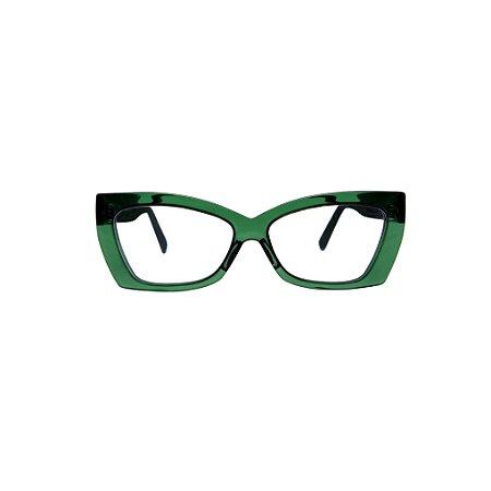 Armação para óculos de Grau Gustavo Eyewear G81 11. Cor: Verde translúcido. Haste preta.