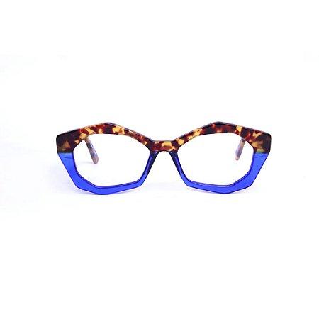 Armação para óculos de Grau Gustavo Eyewear G53 9. Cor: Animal print e azul translúcido. Haste animal print.
