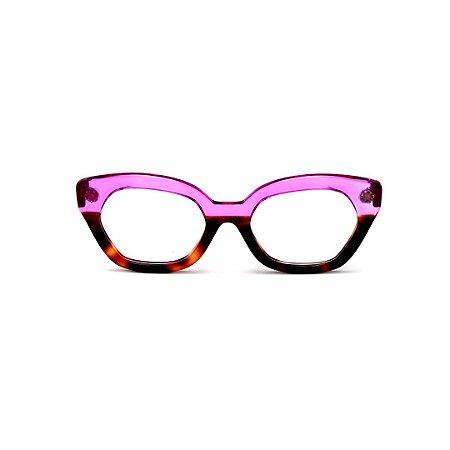 Armação para óculos de Grau Gustavo Eyewear G70 3. Cor: Animal print e violeta translúcido. Haste violeta.