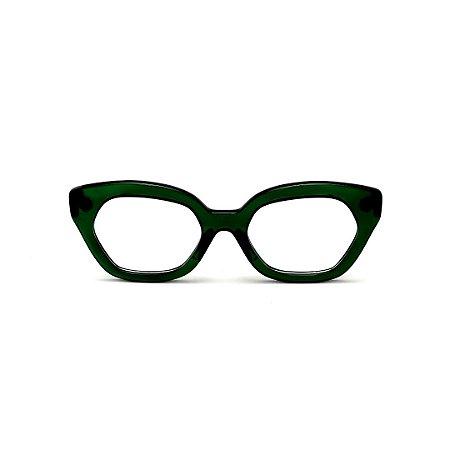 Armação para óculos de Grau Gustavo Eyewear G70 6. Cor: Verde translúcido. Haste preta.